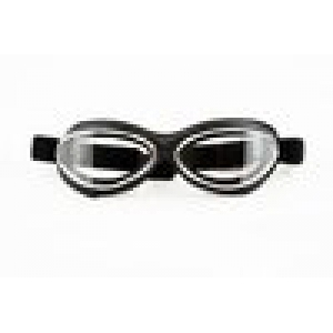 GOGGLE MASK LEATHER BLACK-CHRO logo